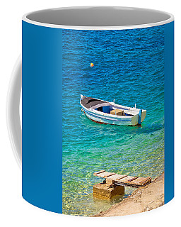 Old Wooden Fishermen Boat On Turquoise Beach Coffee Mug by Brch Photography