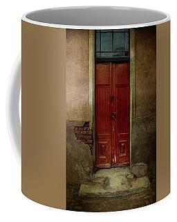 Old Wooden Gate Painted In Red  Coffee Mug by Jaroslaw Blaminsky