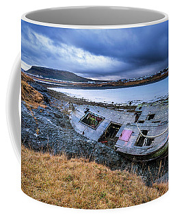 Old Wooden Ship On Beach Coffee Mug by Joe Belanger