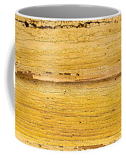 Old Yellow Paint On Wood Coffee Mug by John Williams