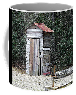 Oldtime Outhouse - Digital Art Coffee Mug by Al Powell Photography USA