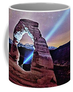 Olena Art Starry Night Pointer At Delicate Arch Moab National Park Coffee Mug