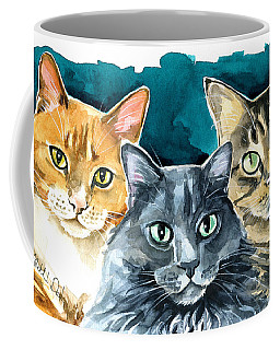 Oliver, Willow And Walter - Cat Painting Coffee Mug