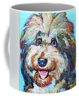 Coffee Mug featuring the painting Olivia, The Aussiedoodle by Robert Phelps