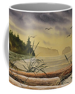 Coffee Mug featuring the painting Olympic Seashore Sunset by James Williamson