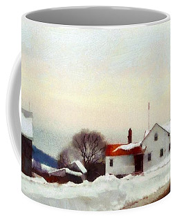 On My Way Home - Winter Farmhouse Coffee Mug by Janine Riley