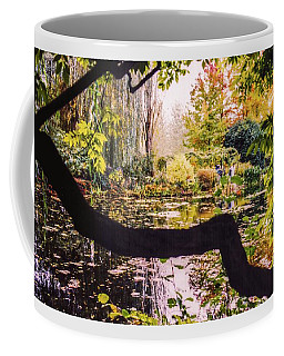 Coffee Mug featuring the photograph On Oscar - Claude Monet's Garden Pond  by D Davila