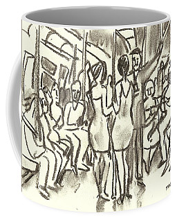 On The A, New York City Subway Drawing Coffee Mug