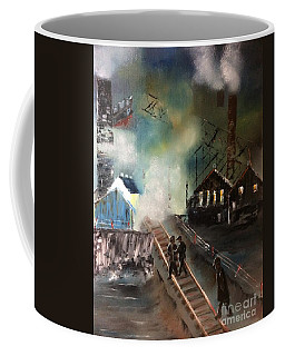 Coffee Mug featuring the painting On The Pennsylvania Tracks by Denise Tomasura