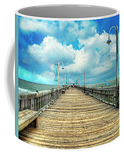 On The Pier At Tybee Coffee Mug by Tammy Wetzel