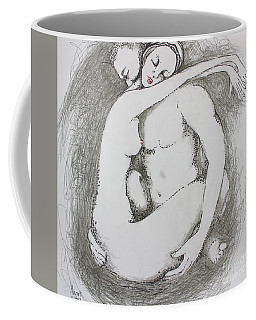 Coffee Mug featuring the drawing Once Lovers by Marat Essex