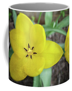 One And A Half Yellow Tulips Coffee Mug by Michelle Calkins