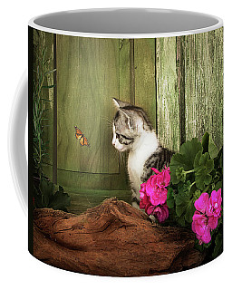 One Cute Kitten Waiting At The Door Coffee Mug