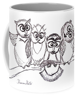 Coffee Mug featuring the drawing One Happy Family by Ramona Matei