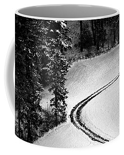 Coffee Mug featuring the photograph One Way - Winter In Switzerland by Susanne Van Hulst