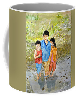 Coffee Mug featuring the painting Onion Farm Children Bali Indonesia by Melly Terpening