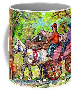 Ontario Sugar Shack Canadian Landscape Painting Wagon Ride White Horse Spring Countryscene C Spandau Coffee Mug
