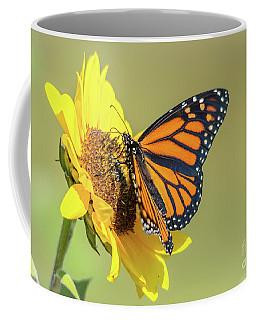 Open Monarch On Sunflower Coffee Mug