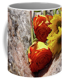 Orange And Yellow On Pink Granite Coffee Mug