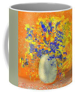 Orange, Blue, And Gold Sparkling Bouquet Coffee Mug