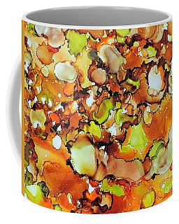 Coffee Mug featuring the painting Orange Bubbbles by Sean Brushingham