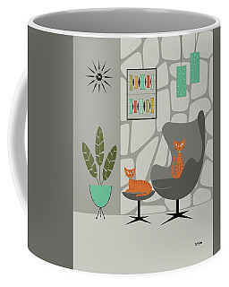 Coffee Mug featuring the digital art Orange Cat In Gray Stone Wall by Donna Mibus