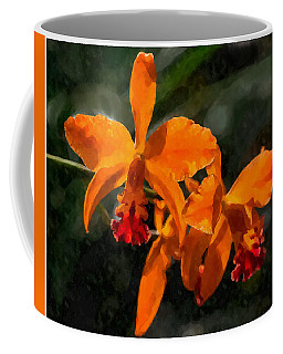 Orange Cattleya Orchid Coffee Mug by Kai Saarto