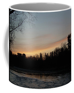 Coffee Mug featuring the photograph Orange Clouds Mississippi River Dawn by Kent Lorentzen