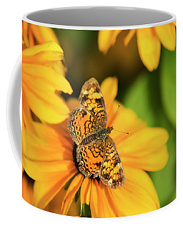 Coffee Mug featuring the photograph Orange Crescent Butterfly by Christina Rollo