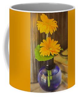 Orange Flowers Blue Vase Coffee Mug