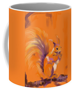 Coffee Mug featuring the painting Orange Forest Squirrel by Go Van Kampen