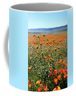 Coffee Mug featuring the mixed media Orange Poppies And Fiddleneck- Art By Linda Woods by Linda Woods