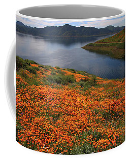 Orange Poppy Fields At Diamond Lake In California Coffee Mug