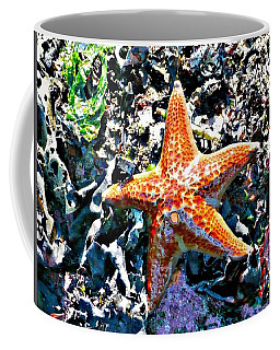 Coffee Mug featuring the photograph Orange Starfish by 'REA' Gallery