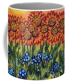 Orange Sunset Flowers Coffee Mug
