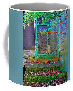 Orange Tabby Cat Screened Door - Granny's Cat Coffee Mug by Rebecca Korpita