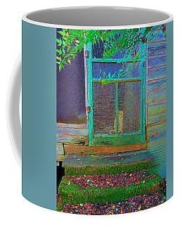 Orange Tabby Cat Screened Door - Granny's Cat Coffee Mug