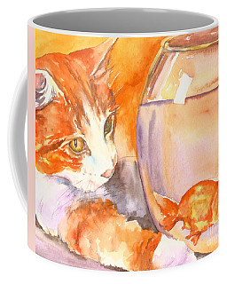 Orange Tabby With Goldfish Coffee Mug