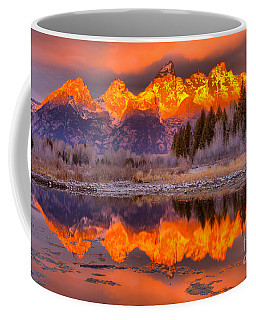 Orange Teton Peaks Coffee Mug by Adam Jewell