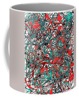 Orange Turquoise Drip Abstract Coffee Mug by Genevieve Esson