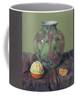 Oranges And Floral Porcelain Vase Coffee Mug