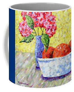 Oranges In Bowl With Flowers Coffee Mug