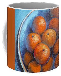 Coffee Mug featuring the painting Oranges On Blue Acrylic Original Painting by Chris Hobel