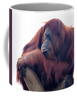 Coffee Mug featuring the photograph Orangutan - Color Version by Lana Trussell