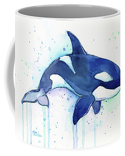 Orca Whale Watercolor Killer Whale Facing Right Coffee Mug