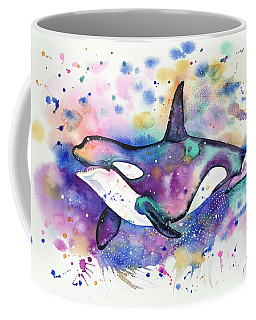 Coffee Mug featuring the painting Orca by Zaira Dzhaubaeva