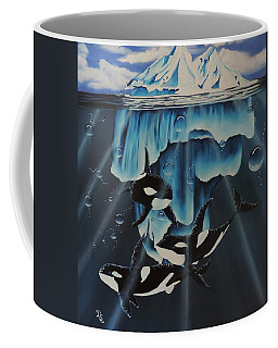 Coffee Mug featuring the painting Orcas Versus Glacier by Dianna Lewis