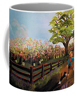 Coffee Mug featuring the painting Orchard And Barn by Donna Hall