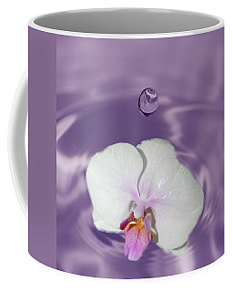 White Orchid Water Drop Coffee Mug