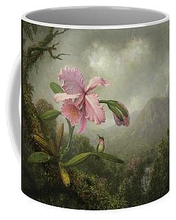 Orchid And Hummingbird Near A Waterfall Coffee Mug